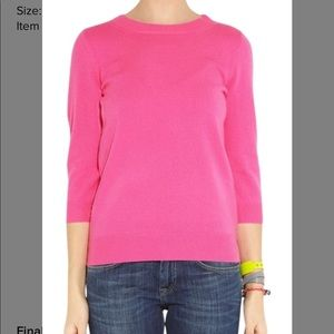 J. Crew pink merino wool 3/4 sleeve sweater